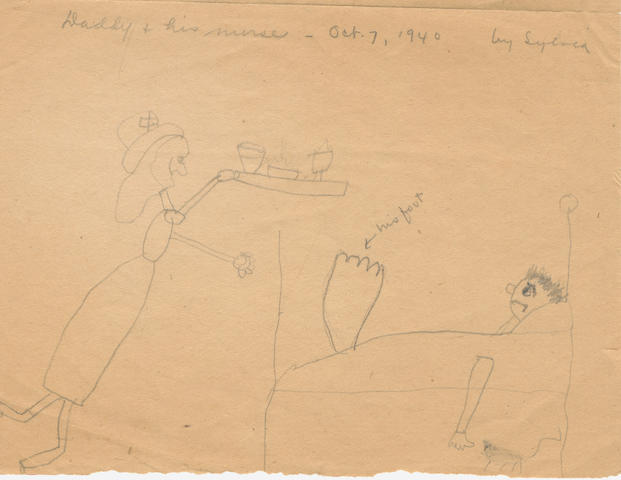 "PLATH (SYLVIA) ""Daddy & his nurse - Oct.7, 1940 by Sylvia"", two pencil drawings depicting Sylvia's father Otto lying with an outsized swollen foot in his sick bed, whilst a nurse approaches, [7 October 1940]"