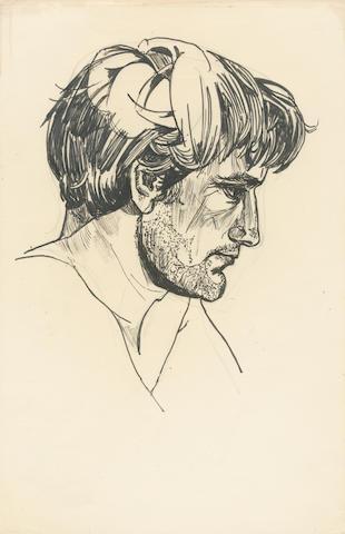 PLATH (SYLVIA) Portrait of Ted Hughes, [1956]