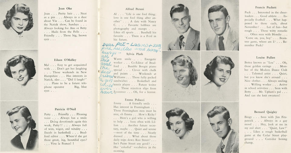 PLATH (SYLVIA) The Wellesleyan. The Yearbook of the Gamaliel Bradford Senior High School, Wellesley, Massachusetts, INSCRIBED BY SYLVIA PLATH BESIDE HER PHOTOGRAPH with a note to her close friend Patricia O'Neil, [1950]