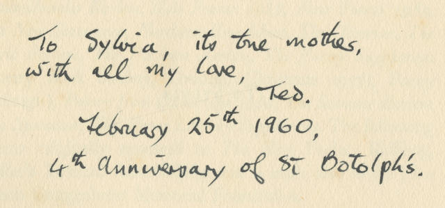 """HUGHES (TED) Lupercal, FIRST EDITION, AUTHOR'S PRESENTATION COPY, INSCRIBED BY TED HUGHES TO SYLVIA PLATH (""""To Sylvia, its true mother, with all my love, Ted. February 25th 1960, 4th anniversary of St. Botolph's"""", on the title-page), Faber and Faber, 1960"""