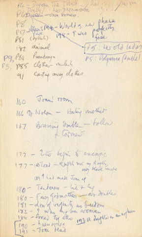 PLATH (SYLVIA) The Bell Jar, ANNOTATED BY TED HUGHES, with page numbers and notes on the inner front and rear covers, corresponding with underlined passages in the text body, Toronto, New York [etc], Bantam, March 1986