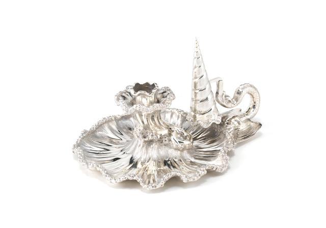 A Victorian silver sea-themed chamberstick by James Charles Eddington, London 1838
