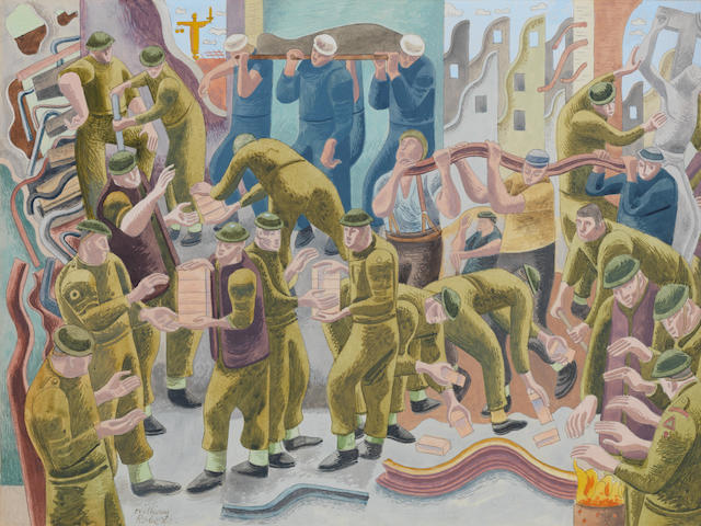 William Roberts R.A. (British, 1895-1980) Demolition Squad 28.3 x 38.2 cm. (11 1/8 x 15 in.) (sheet); 24.3 x 34.2 cm. (9 1/2 x 13 1/2 in.) (image) (Executed circa 1941)
