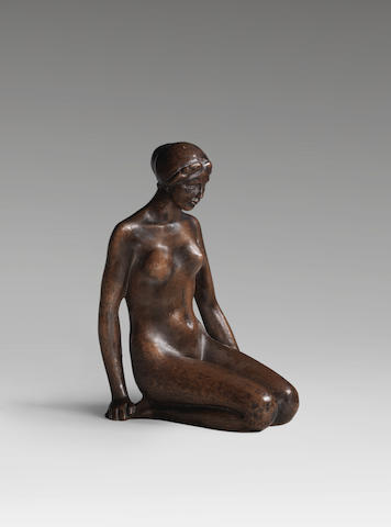 ARISTIDE MAILLOL (1861-1944) Jeune fille agenouillée 20cm (7 7/8 in). high (Conceived circa 1900, this bronze version was cast between 1910 - 1920 by Ambroise Vollard)