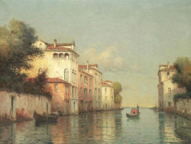 Noel Georges Bouvard (French, 1912-1975) Gondolier on a Venetian backwater