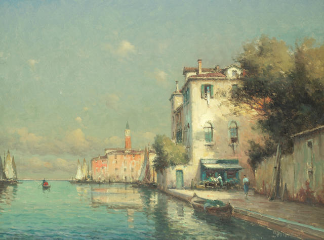 Noel Georges Bouvard (French, 1912-1975) Venetian canal with the Campanile in the distance