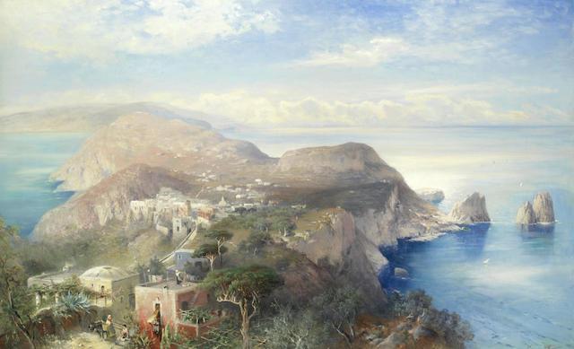 Heinrich Hiller (German, 1866-1894) A panorama of Capri