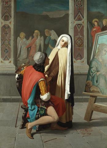 Gabriele Castagnola (Italian, 1828-1883) Filippo Lippi falling in love with Lucrezia Buti, a pair 100 x 74cm (39 3/8 x 29 1/8in)(2).
