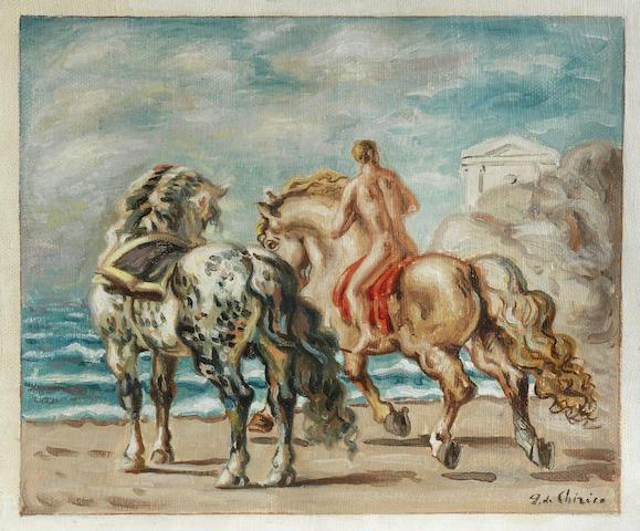 Giorgio de Chirico (1888-1978) <i>Cavalli e cavaliere in riva al mare</i> (Painted circa 1934)