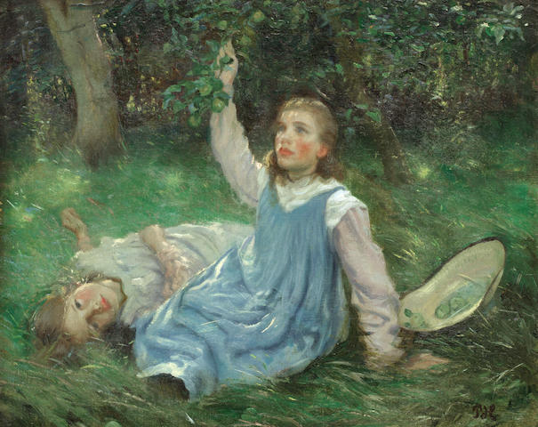 Peter Marius Hansen (Danish, 1868-1928) Summer afternoon apple picking