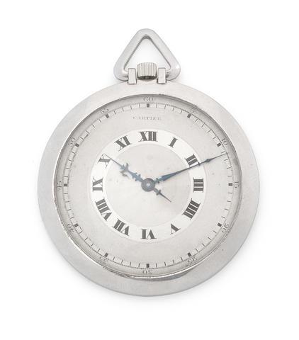 Cartier. A platinum keyless wind open face pocket watch Circa 1930