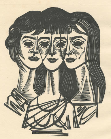 PLATH (SYLVIA) Three Women. A Monologue for Three Voices... with an Introduction by Douglas Cleverdon, ONE OF 5 SPECIALLY PRINTED COPIES, from an overall edition of 185 copies, SIGNED BY TED HUGHES on the front free endpaper, Turret Books, 1968; sold with a window-mounted woodcut print of the 'Three Women' by Gliwa (2)