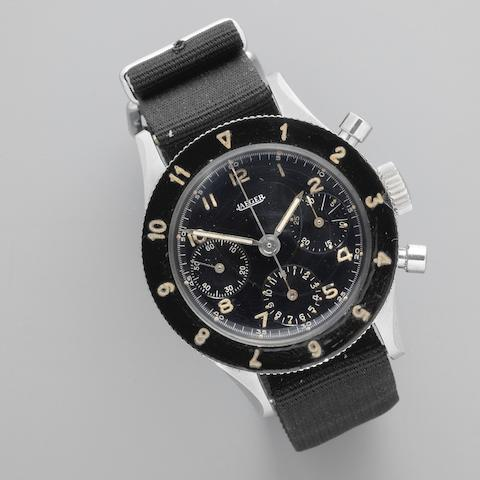Jaeger. A stainless steel military style manual wind chronograph wristwatch Circa 1950