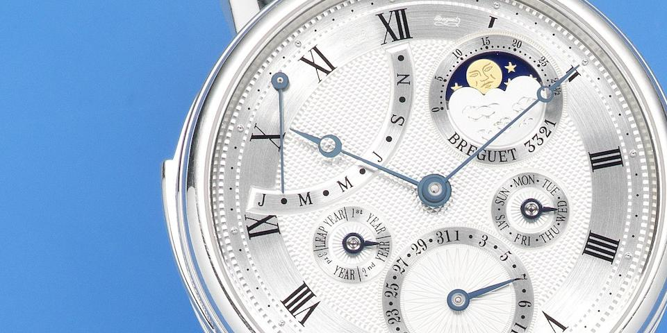 Breguet. A very fine and rare manual wind minute repeating perpetual calendar wristwatch with power reserve Ref: 5447, Circa 2006