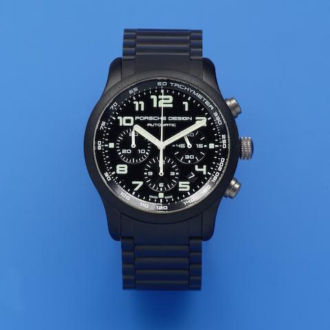 Porsche Design. A black DLC coated titanium automatic calendar chronograph bracelet watch Ref: P6612, Sold 1st March 2007