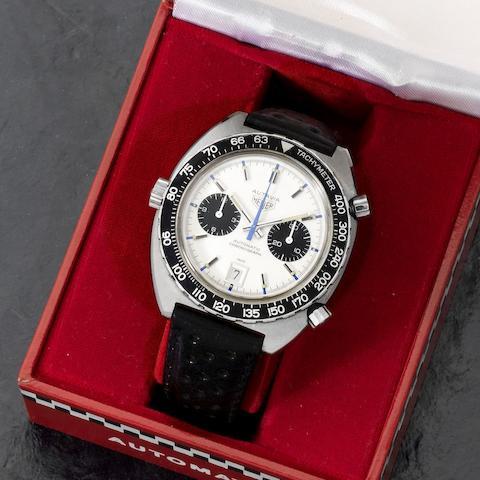 Heuer. A stainless steel automatic calendar chronograph wristwatch  Autavia 'Jo Siffert', Ref: 1163, Circa 1972