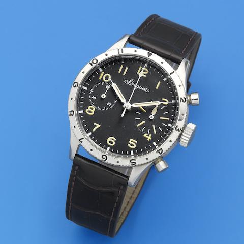 Breguet. A stainless steel manual wind flyback chronograph wristwatch Aeronavale, Type XX, Ref: 2977, Sold 23th December 1960
