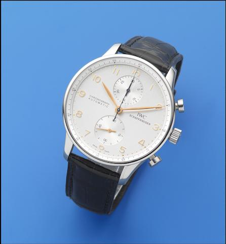 IWC. A stainless steel automatic chronograph wristwatch  Portuguese, Ref: 3714, Sold 19th January 2001
