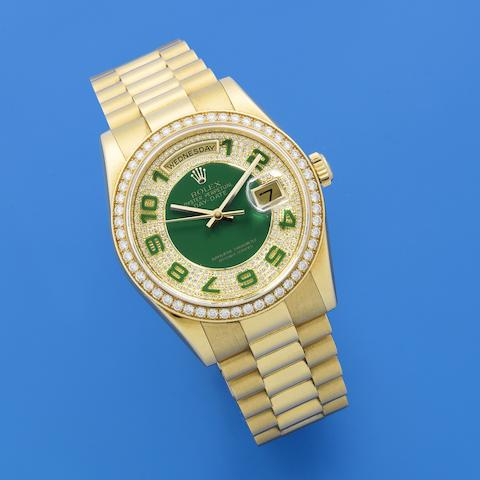 Rolex. A fine 18K gold, green enamel and diamond set automatic calendar bracelet watch  Day-Date, Ref: 118348, Sold 5th December 2006