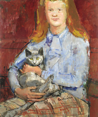Ruskin Spear R.A. (British, 1911-1990) Girl with cat