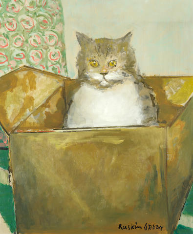 Ruskin Spear R.A. (British, 1911-1990) Cat in a box