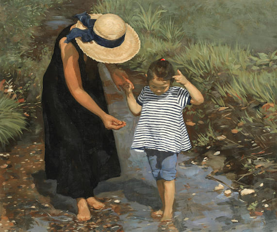 Neale Worley (British, born 1962) Paddling in the stream