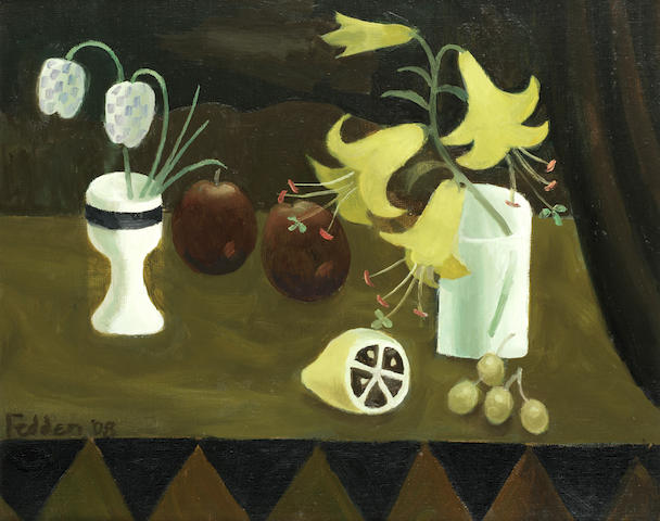 Mary Fedden R.A. (British, 1915-2012) Still life with yellow lilies, fruit and fritillaries