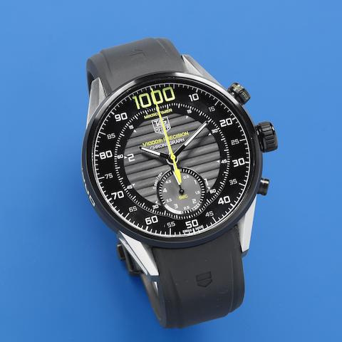 TAG Heuer. An exceptionally rare black coated automatic micrograph wristwatch with twin balance and 1/1000th second recording Mikrotimer Flying 1000, Circa 2011