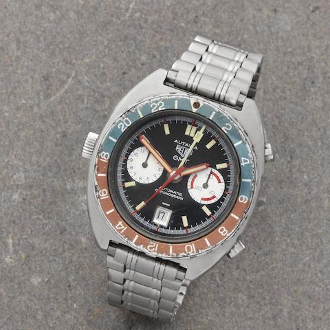 Heuer. A stainless steel automatic calendar chronograph bracelet watch Autavia GMT, Ref: 11630, Circa 1970