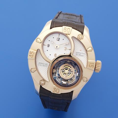 Zenith. A very fine and rare 18K rose gold automatic tourbillon wristwatch  Defy Classic Zero-G Tourbillon, Ref: 18.0526.8800/1, No.04, Circa 2010