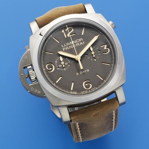 Panerai. A titanium left handed manual wind cushion form single button chronograph wristwatch with 8 day power reserve in unused condition  Luminor 1950 Chrono Monopulsante Left-Handed 8 Days Titano, Ref: PAM00579, Limited Edition No.55/300, Sold 20th January 2015