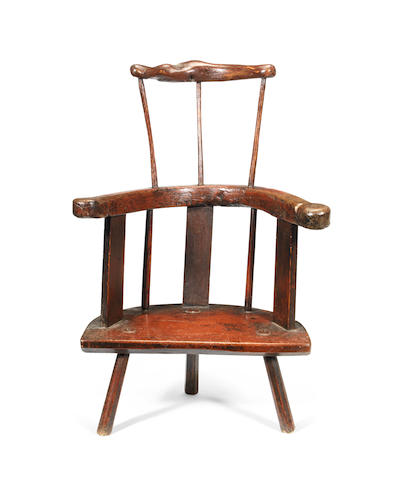 A rare George II sculptural ash and painted primitive chair, 'Carmarthenshire'-type, circa 1750