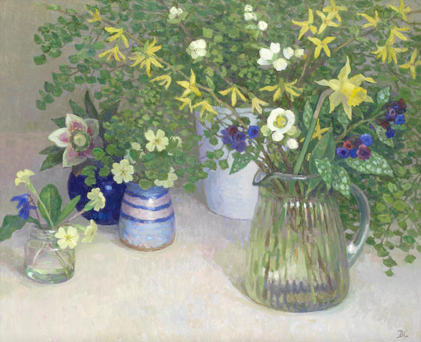 Diana Calvert (British, born 1941) March flowers with maiden hair fern
