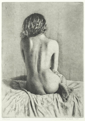 Mark Clark (British, born 1959) Seated nude, back view (PL) (together with two further etchings by the same hand (3))