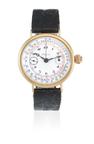 Longines. A rare and early 18K gold manual wind single button chronograph wristwatch Circa 1924