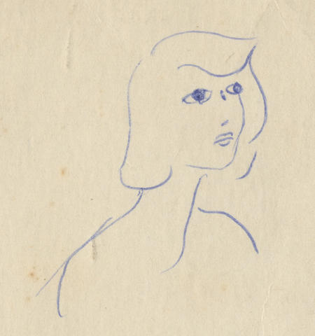 PLATH (SYLVIA) Ink sketch of a young woman (possibly a self-portrait), head and shoulders looking to the right, [early 1950s]