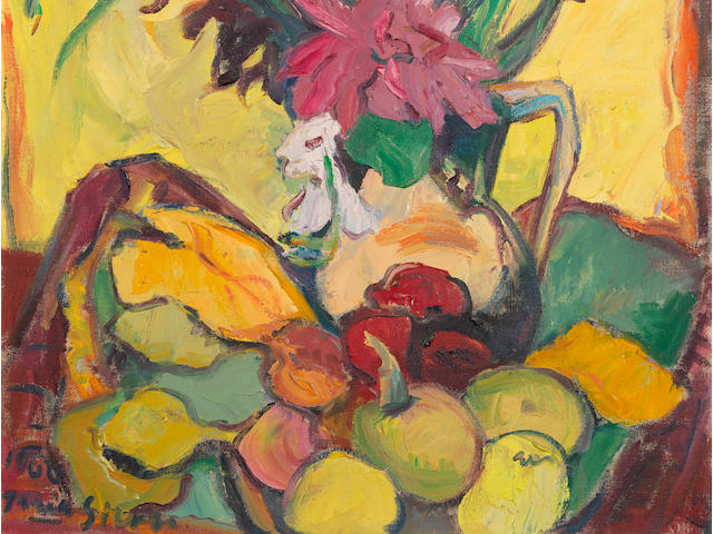Irma Stern (South African, 1894-1966) Still life of Gladioli and Fruit