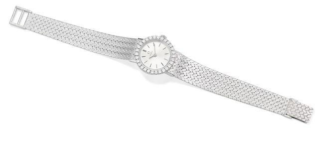 A diamond wristwatch, by Omega
