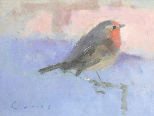 Frederick Cuming RA NEAC (British, born 1930) Robin on a branch