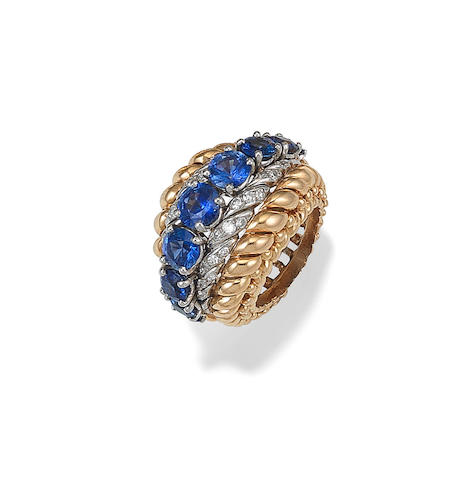 A mid 20th century sapphire and diamond dress ring
