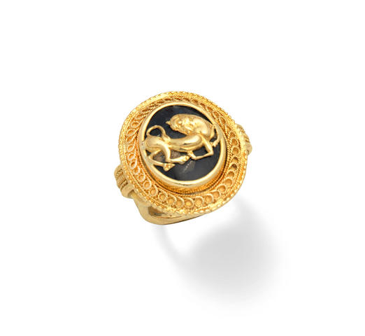 A hardstone dress ring, by Lalaounis,