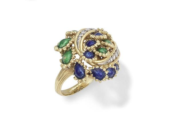 An enamel and diamond dress ring, by Kutchinsky, 1969