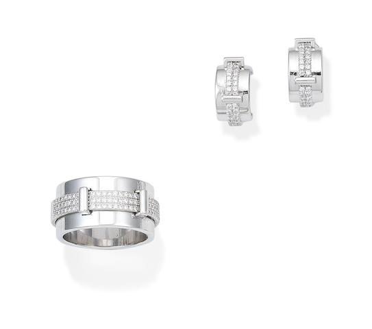 A 'Keira' ring and earring suite, by Asprey (2)