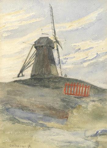 Carl Wilhelm Wilhelmson (Swedish, 1866-1928) Landscape with a windmill