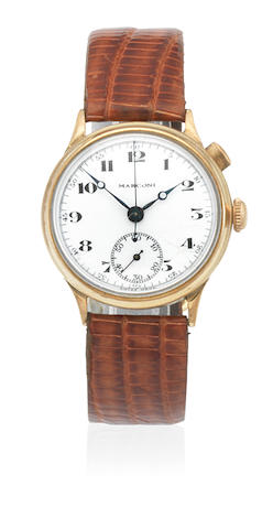 Marconi. An early gilt metal manual wind single button chronograph wristwatch Circa 1925