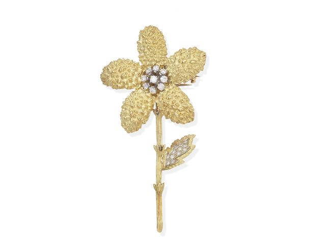 A diamond flower brooch, French, circa 1970
