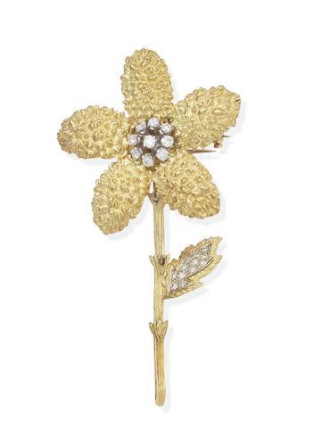 A diamond flower brooch, French, circa 1970
