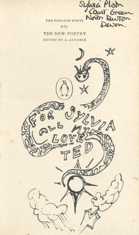 NEW POETRY The New Poetry. A Selection Selected and Introduced by A. Alvarez, FIRST EDITION, SYLVIA PLATH'S COPY, INSCRIBED TO HER WITH A DRAWING BY TED HUGHES, AND MARKED UP BY PLATH, Penguin Books, 1962