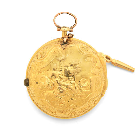 J. Snelling, London. A gold key wind open face pair case pocket watch Circa 1730