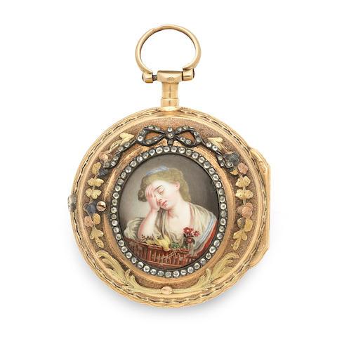 Abraham, Colomby. A gilt metal key wind pair case pocket watch with enamel portrait miniature Circa 1770